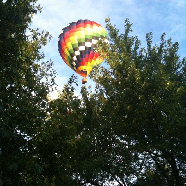 This hot air balloon came sooo close to my house!