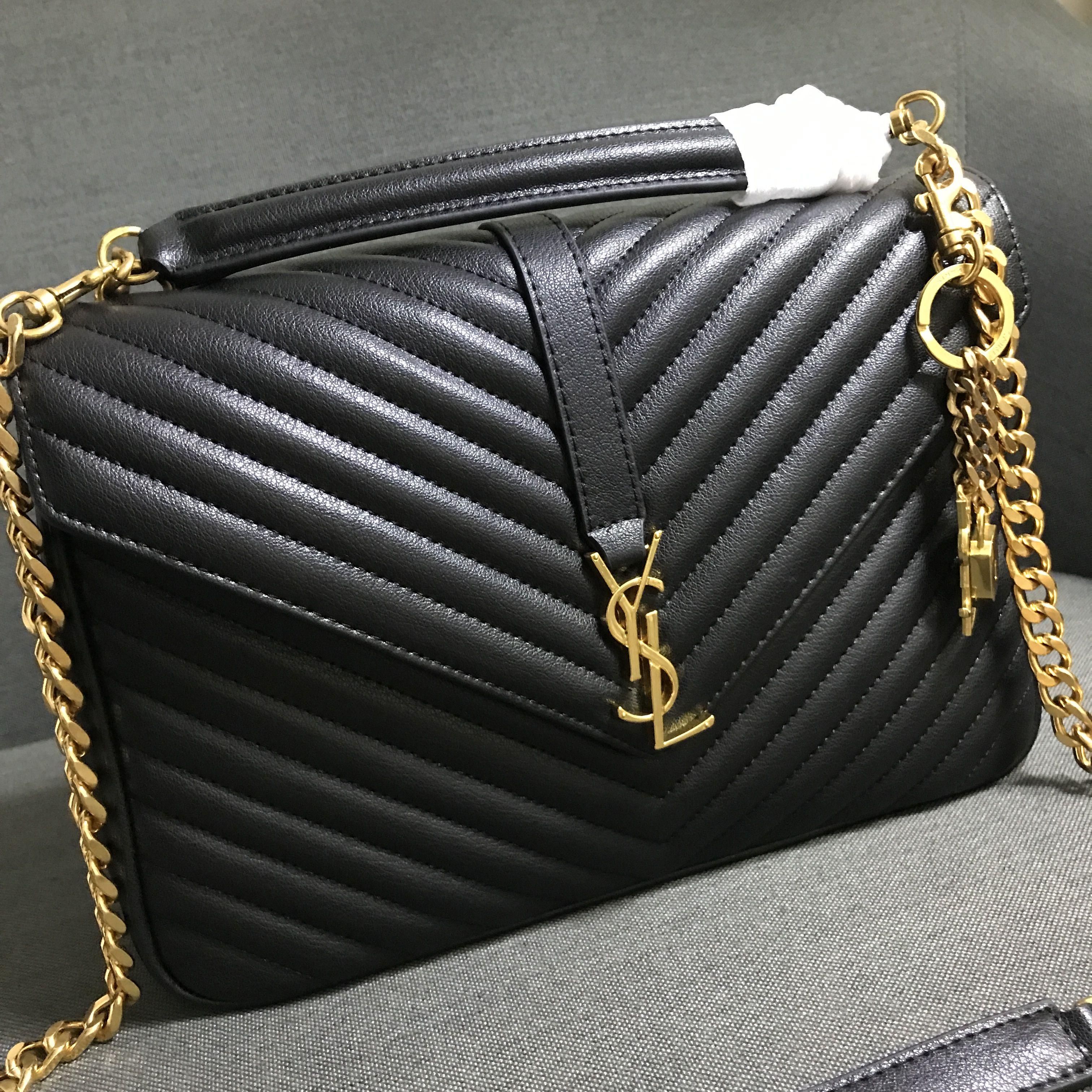 eca36ec2d9 YSL Saint Laurent woman college bag large size v pattern black gold ...