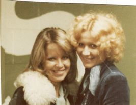 Bev Calder and I on our way to David Bowie concert at Wembley early 70's