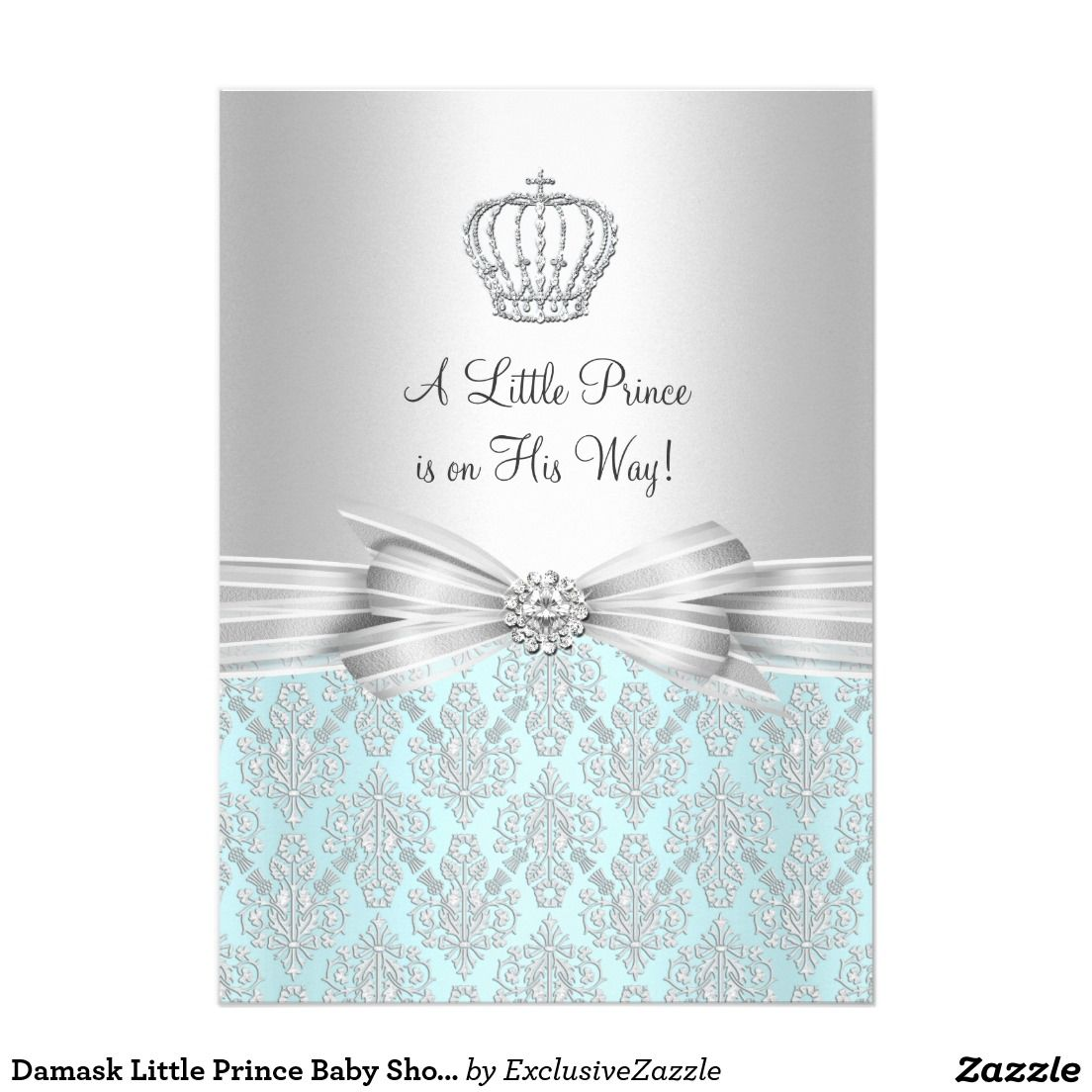 Damask Little Prince Baby Shower Invitation | Shower invitations