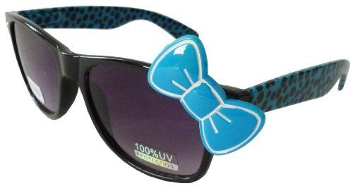 3585a1427 Sanrio Hello Kitty Cheetah Print Style Designer Inspired Wayfarer Sunglasses  - Black/Blue with Blue Bow