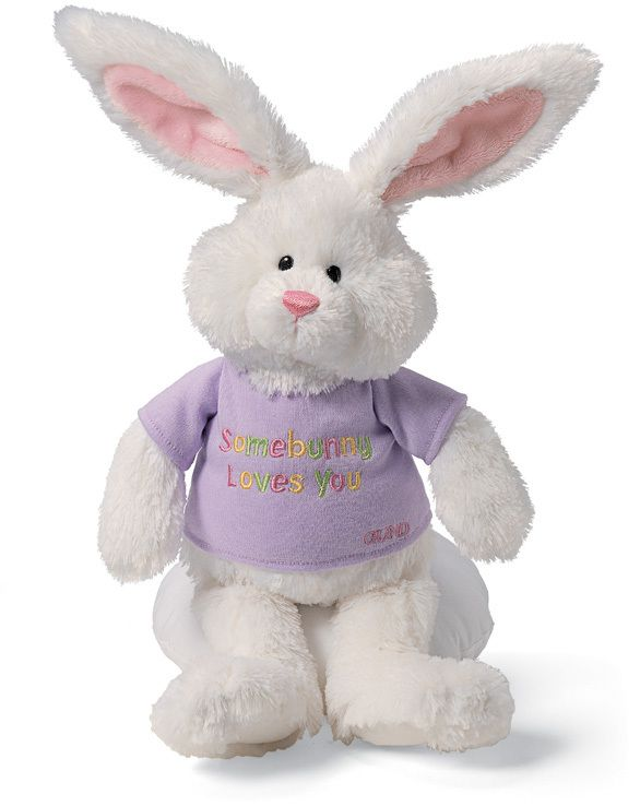 "Gund Bunny Hugs Bunny. Let them know you love them. White bunny wearing a removable t-shirt that says ""Somebunny Loves You"" #ShelburneCountryStore - #Easter Bunny Hugs, $9.95 (http://www.shelburnecountrystore.com/bunny-hugs/)"