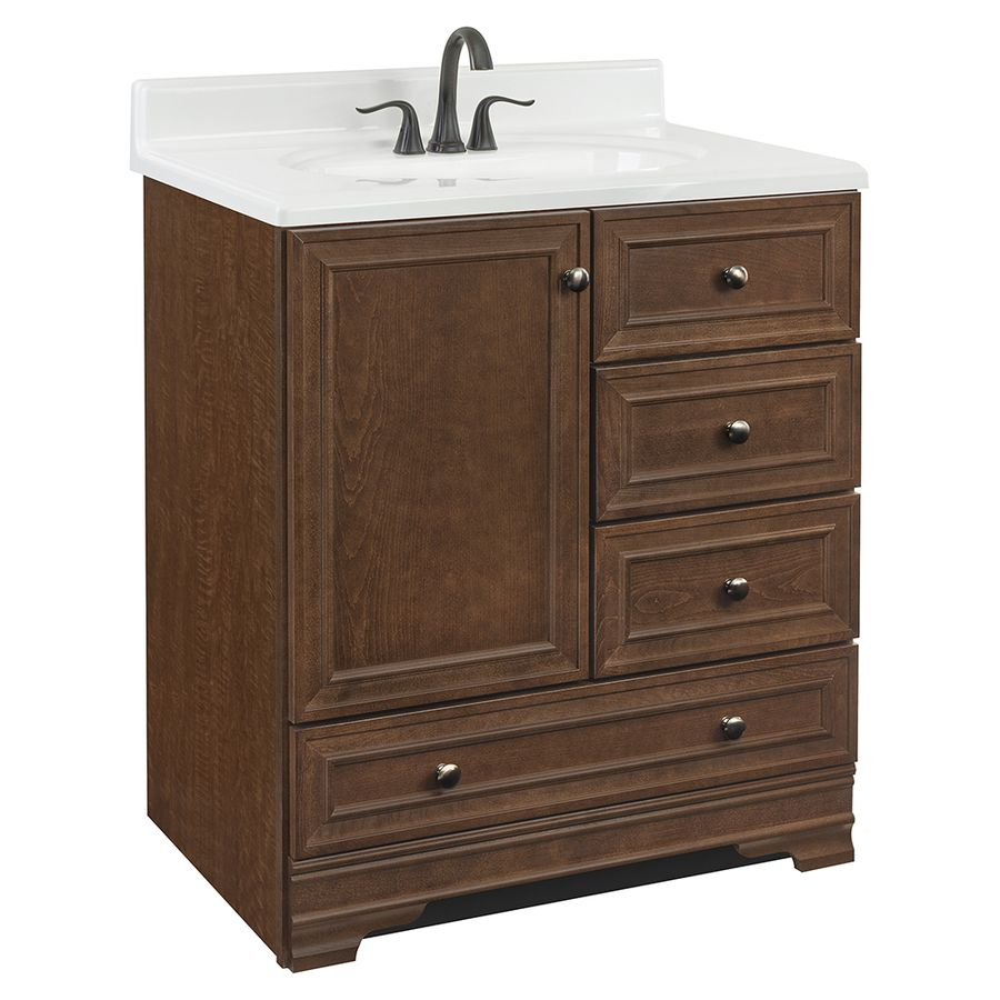 Project Source Bark Traditional Bathroom Vanity Common 30In X Amusing 30 Bathroom Vanity With Drawers Design Decoration