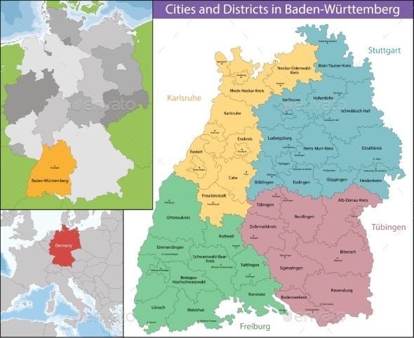 Map Of Baden Wurttemberg With Images Map Graphic Location Map