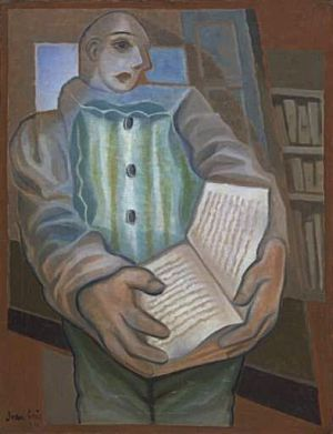 """Pierrot with Book"" (1924) by Juan Gris via Wikipaintings."