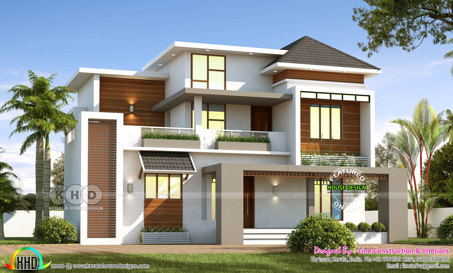 1852 Square Feet 4 Bedroom Beautiful Modern Home Kerala House Design Beautiful Modern Homes Architectural House Plans
