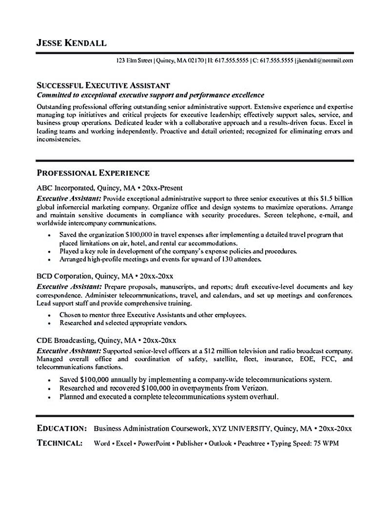 Executive assistant resume is made for those professional