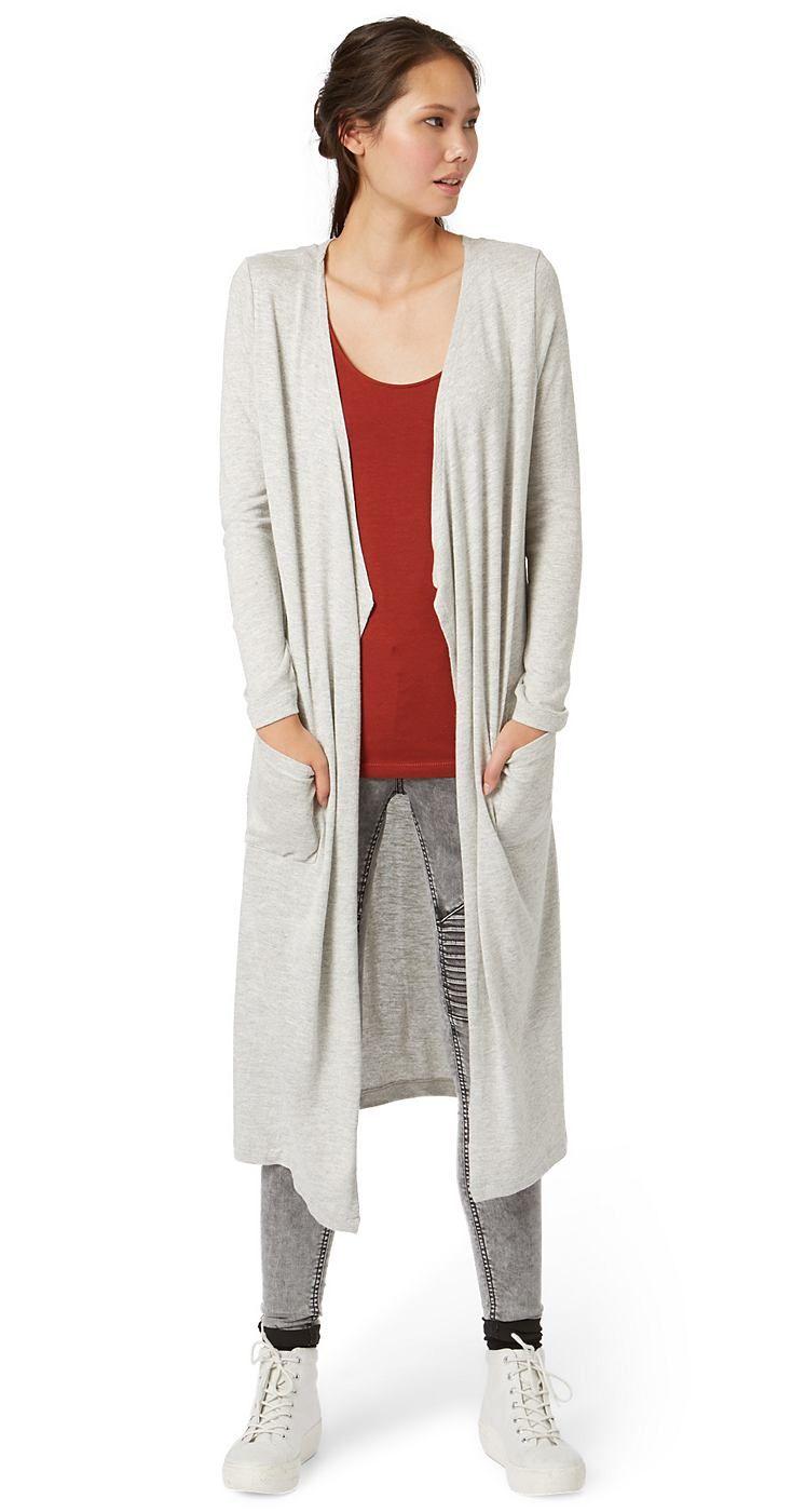 langer Feinstrick-Cardigan für Frauen (unifarben, langärmlig, vorne offen geschnitten) aus Jersey gefertigt, vorne zwei aufgesetzte Taschen, Logo-Coin vorne auf der linken Tasche. Material: 50 % Polyester 50 % Viskose...