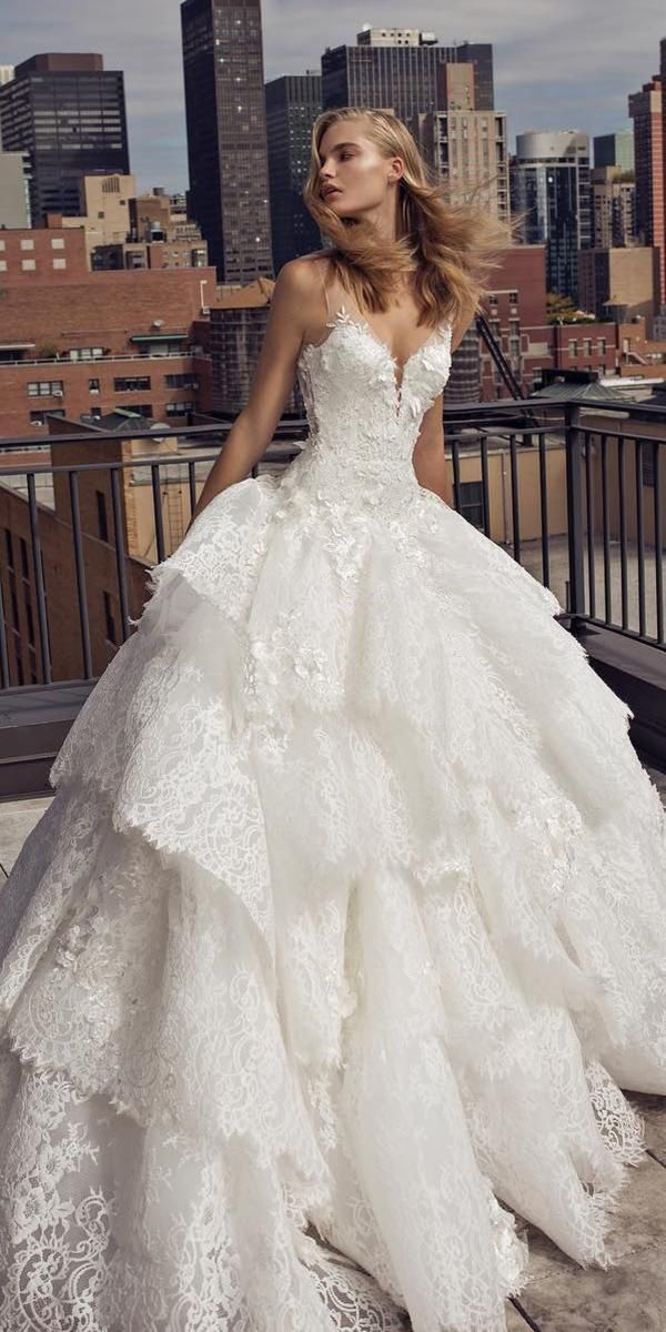 65997818 36 Lace Wedding Dresses That You Will Absolutely Love ❤ lace wedding dresses  ball gown ruffled skir sweetheart neckline pnina tornai #weddingforward ...