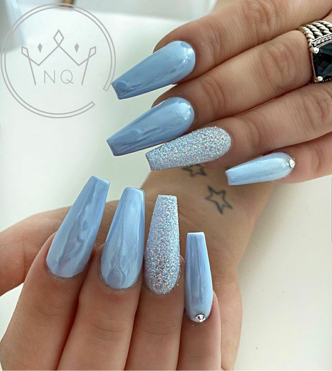 Pin By Ilona Froggett On Nails In 2020 Quinceanera Nails Best Acrylic Nails Homecoming Nails Silver