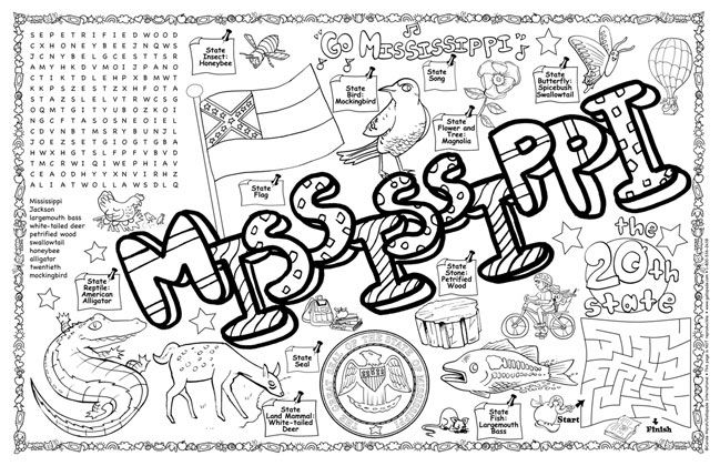 Mississippi Fun Sheet Coloring Page