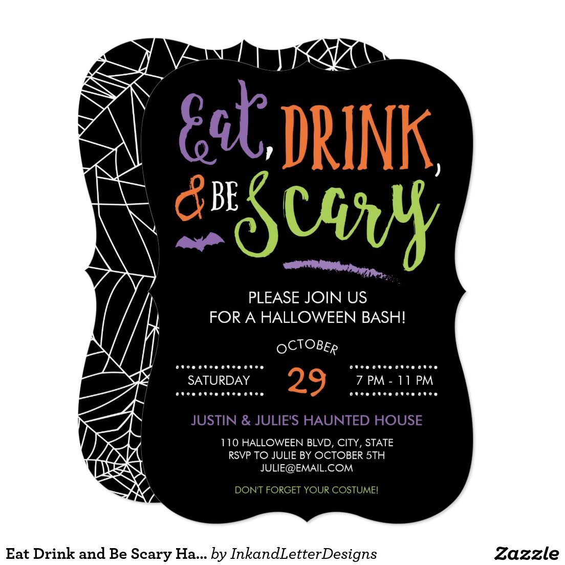 Eat Drink and Be Scary Halloween Party Invitation | Party ideas ...