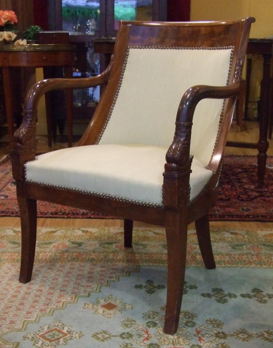 Pair Of Armchairs Gondole In Mahogany And Mahogany Veneer Armrests Decorated With Heads Of Dolphins Empire Style 19th Century For S Bois Fauteuil Meuble