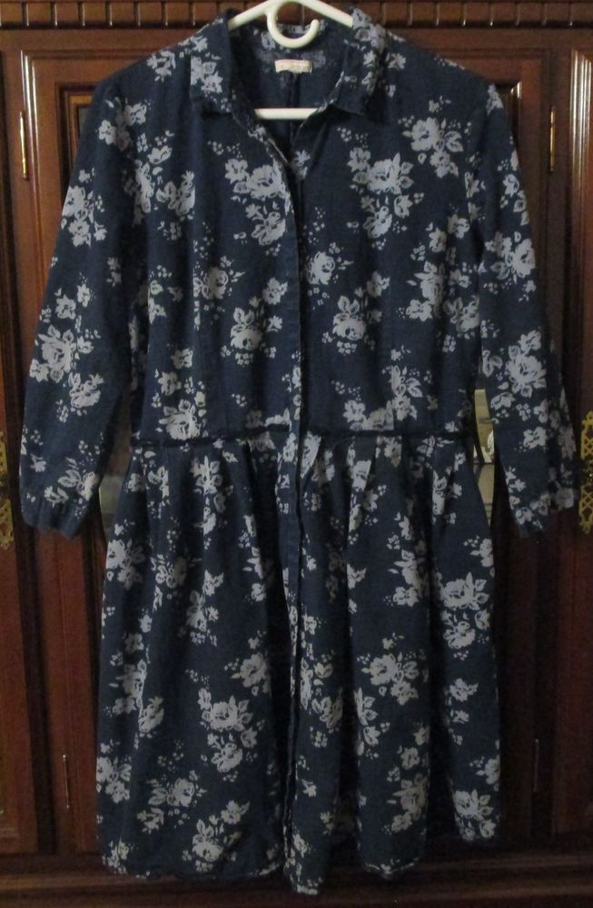 cea36e1275df6f Gap Womens Fit   Flare Denim Blue Floral Shirt Dress Size Large  Gap   ShirtDress  Casual