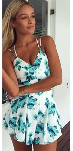 434227d6224 White Mint Green Leaf Spaghetti Strap V Neck Crop Top Pleated Short Two  Piece Romper