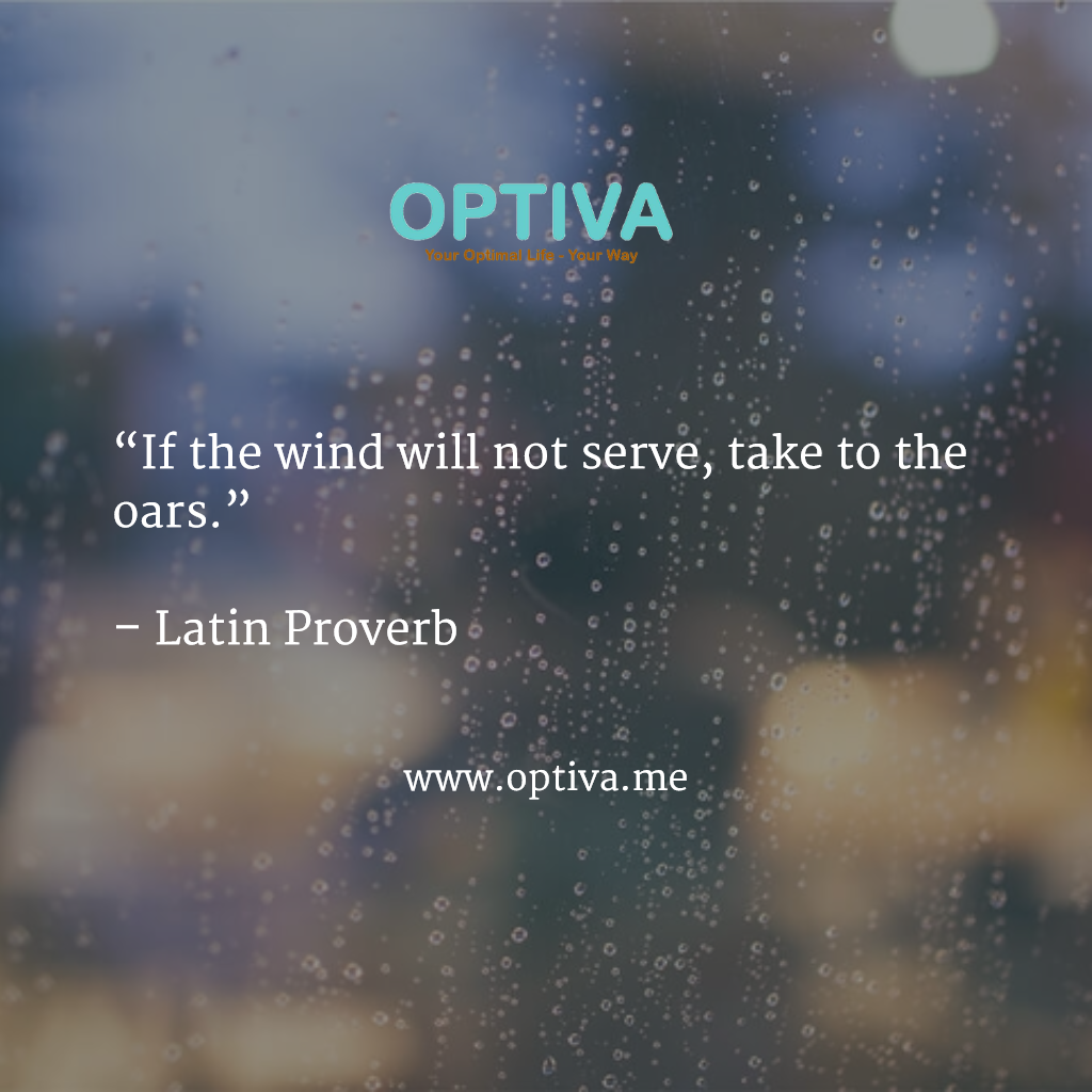 """""""If the wind will not serve, take to the oars.""""   – Latin Proverb"""
