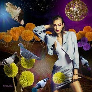 Pigeons and PomPoms. #digital  #art #magic  #hyperrealism  #vogue #Korea #may2014 #photo #sebastian #Kim #model  #Karlie #Kloss #pompoms #pigeons #path #surreal #gold #lantern #sky #fall #violet #yellow #orange #blue #Suzette✨