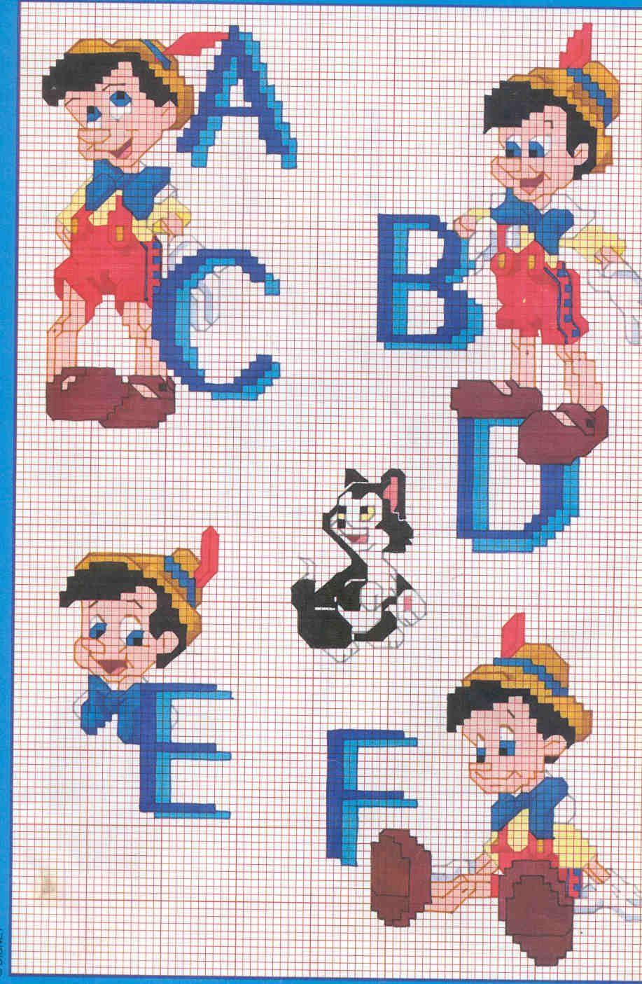 Schema punto croce alfabeto pinocchio 1 disney for Alfabeto disney a punto croce