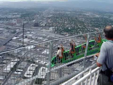 Las Vegas Stratosphere X Scream Ride, all of the rides are built on top of a hotel and most of them hang off the side!