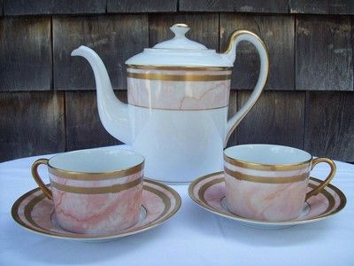 Christian Dior Porcelain Gaudron Marbre Rose Coffee Pot & 2 Cups With Saucers