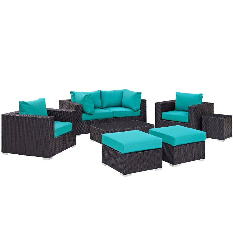 Outdoor Modway Convene Wicker 8 Piece Patio Conversation Set with Side Table Turquoise - EEI-2206-EXP-TRQ-SET