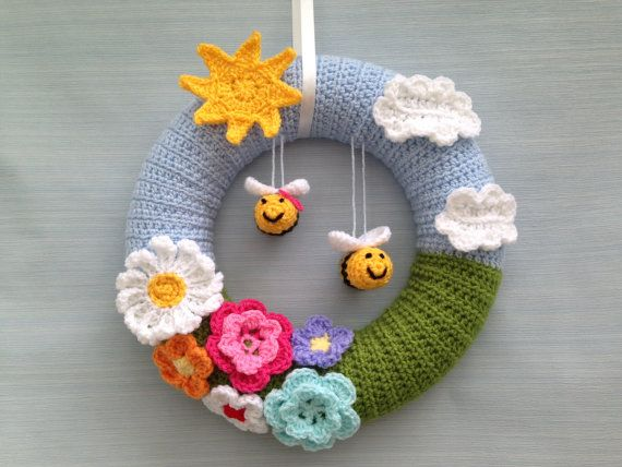 Photo of Items similar to Handmade Crochet Wreath, Flowery Door Wreath with Hanging Bees on Etsy