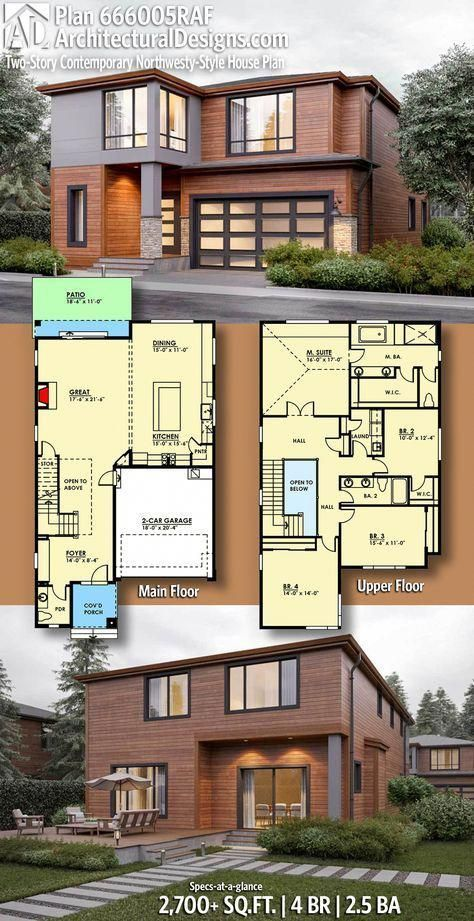 Architectural Designs Modern House Plan 666005raf 4 Br 2 5 Ba 2 700 Sq Ft 666005raf Contemporary House Plans Modern House Design Architecture House