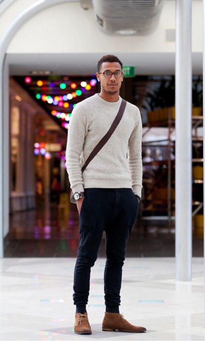 www.instagram.com/brunojax look masculino suéter básico cores preto bege bota informal