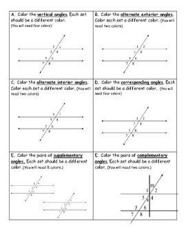 Understanding angles  coloring activity also geometry activities rh pinterest