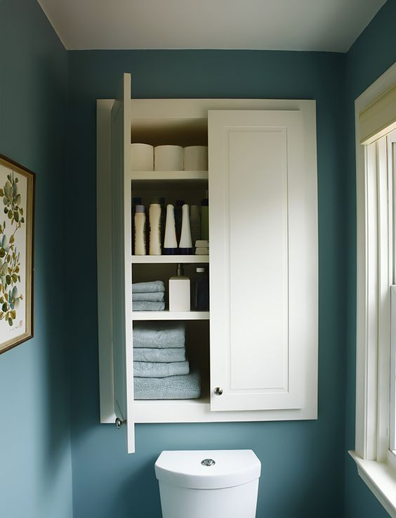 Custom Built In Powder Room Storage Cabinet   Myers Constructs, Inc.
