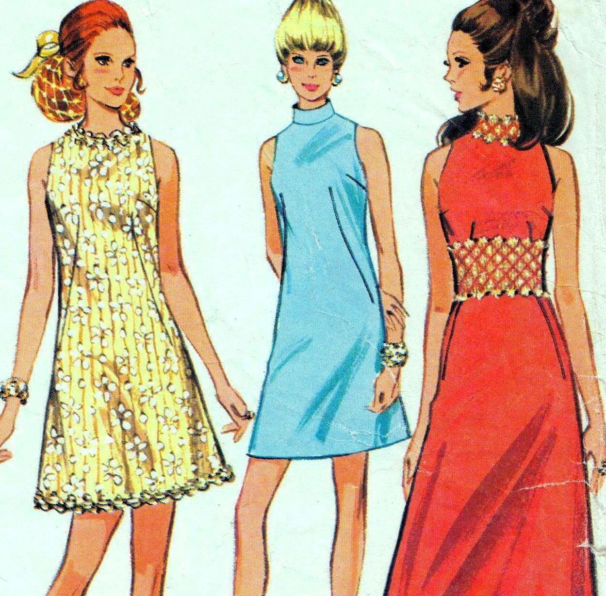 Vintage s mod dress sewing pattern bust