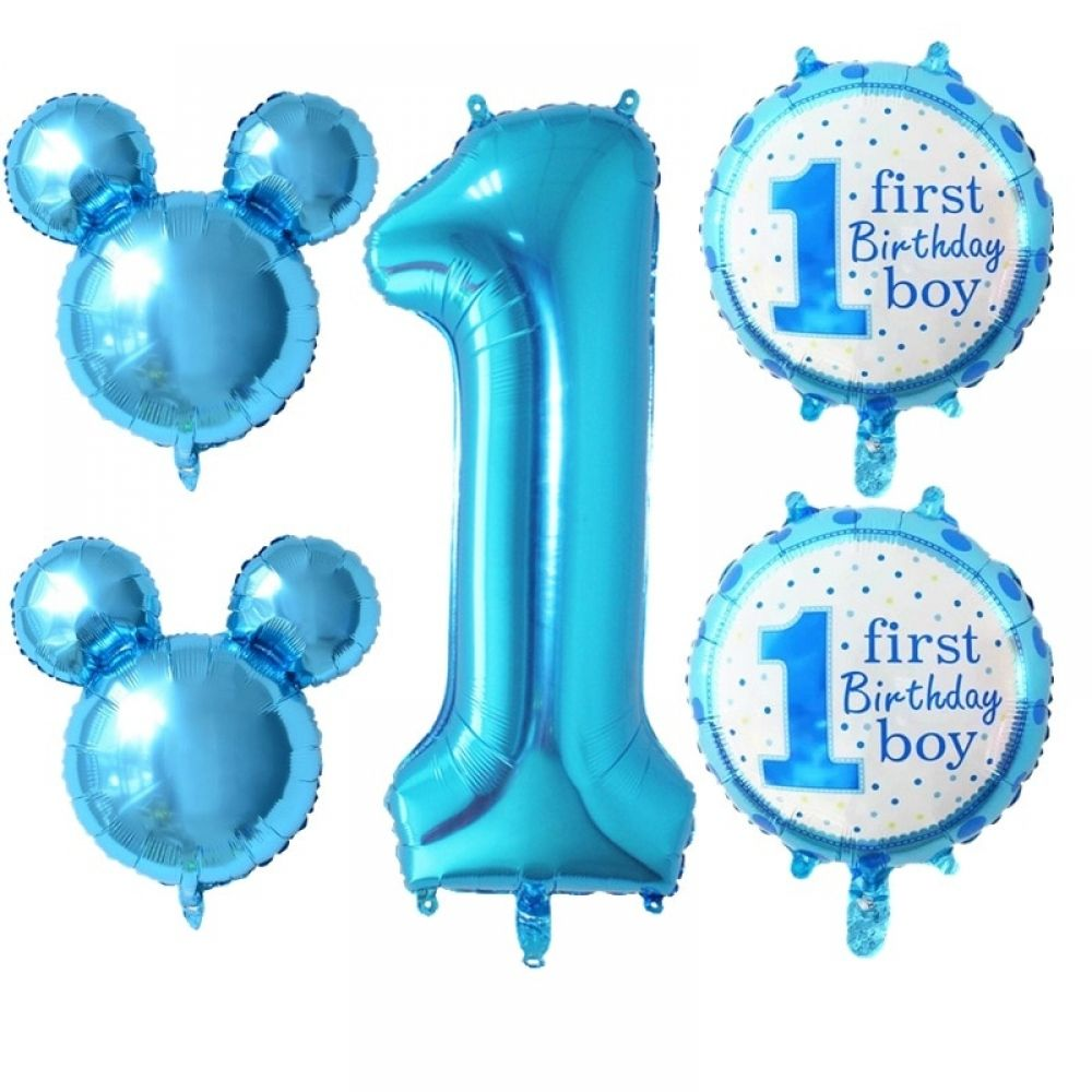 5pcs Mickey Minnie Number 1 Baby Happy Birthday Balloons