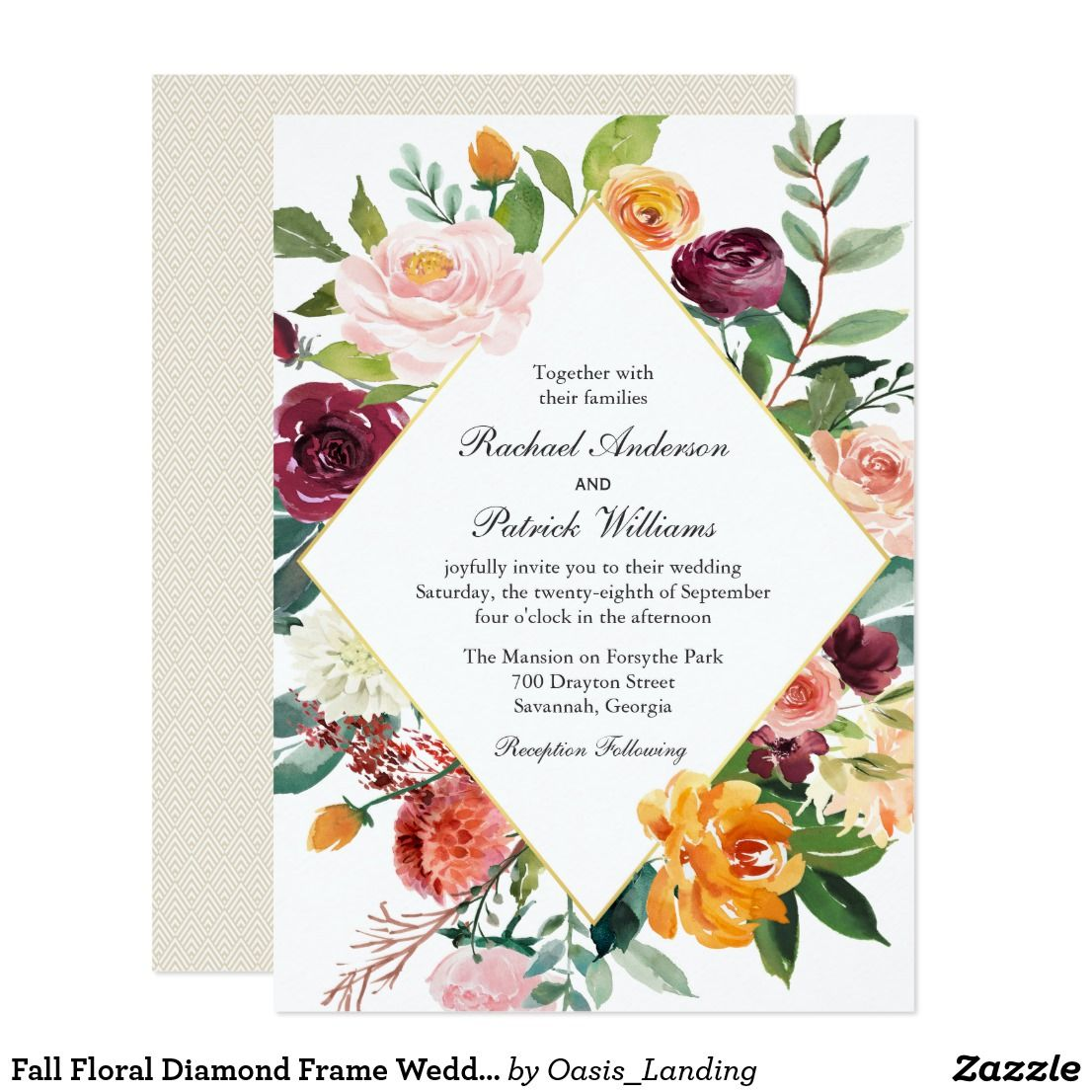 Fall Floral Diamond Frame Wedding Invitation Wedding Card Fall