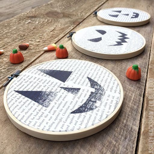 Halloween Embroidery Hoops \u2013 Stitching on Used Book Pages (Lil Blue - halloween michaels