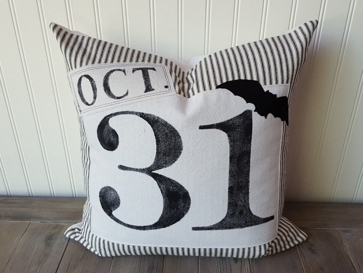 halloween pillow , oct 31 pillow cover , ticking stripe pillow