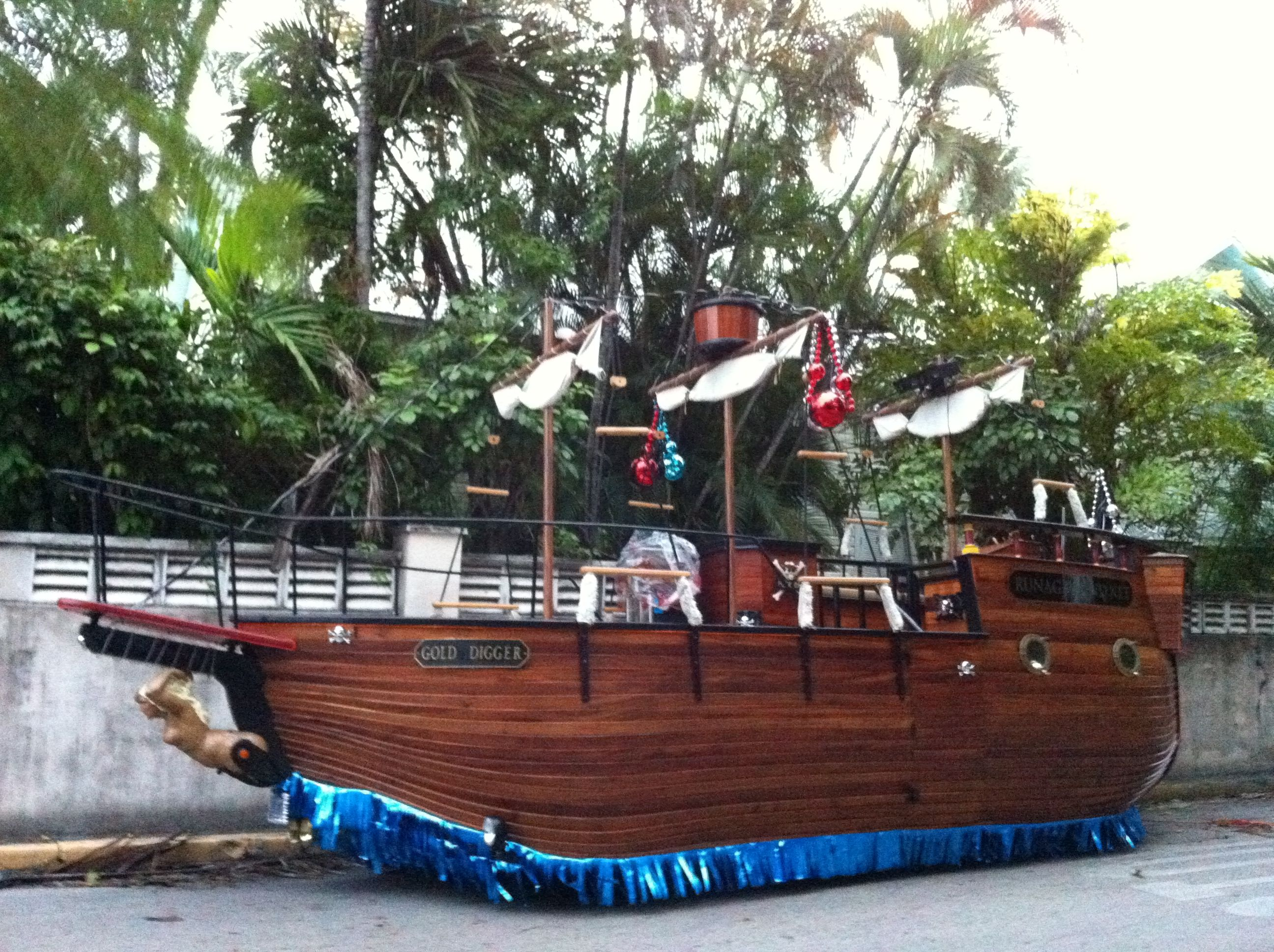 a pirates ship with wheels for fantasy fest parade getting to