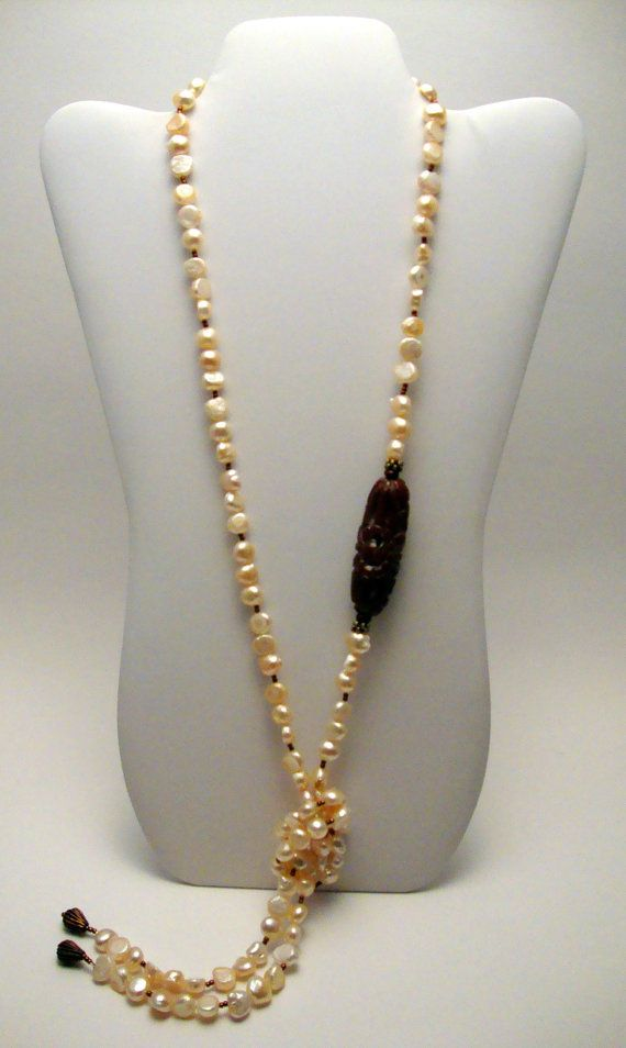 Freshwater Pearl Beaded Necklace Carnelian by ABeadifulDay on Etsy, $115.00