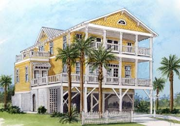 Beach House Plan Old Florida Coastal West Indies Style Floor Plan Florida House Plans Coastal House Plans Beach House Plans