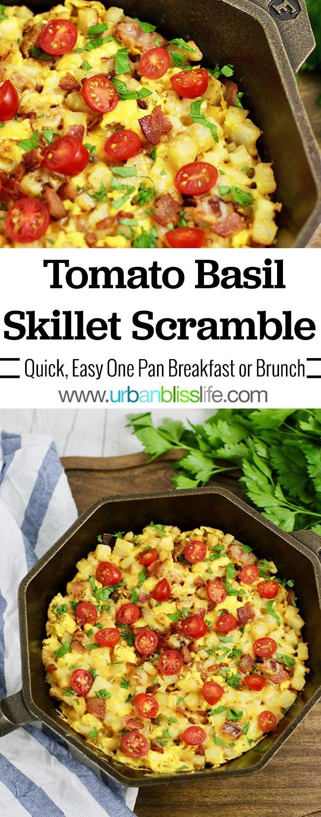 Tomato Basil Skillet Scramble is a hearty, protein-packed, veggie-packed one-skillet breakfast reci