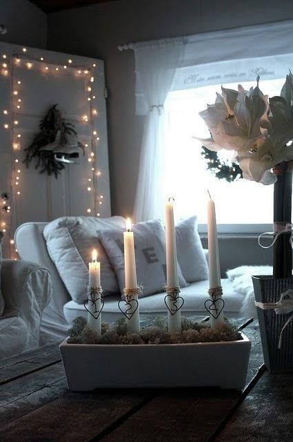 Soft Candle Lit Cozy White Room Home Decor Christmas Home Christmas Inspiration Decor