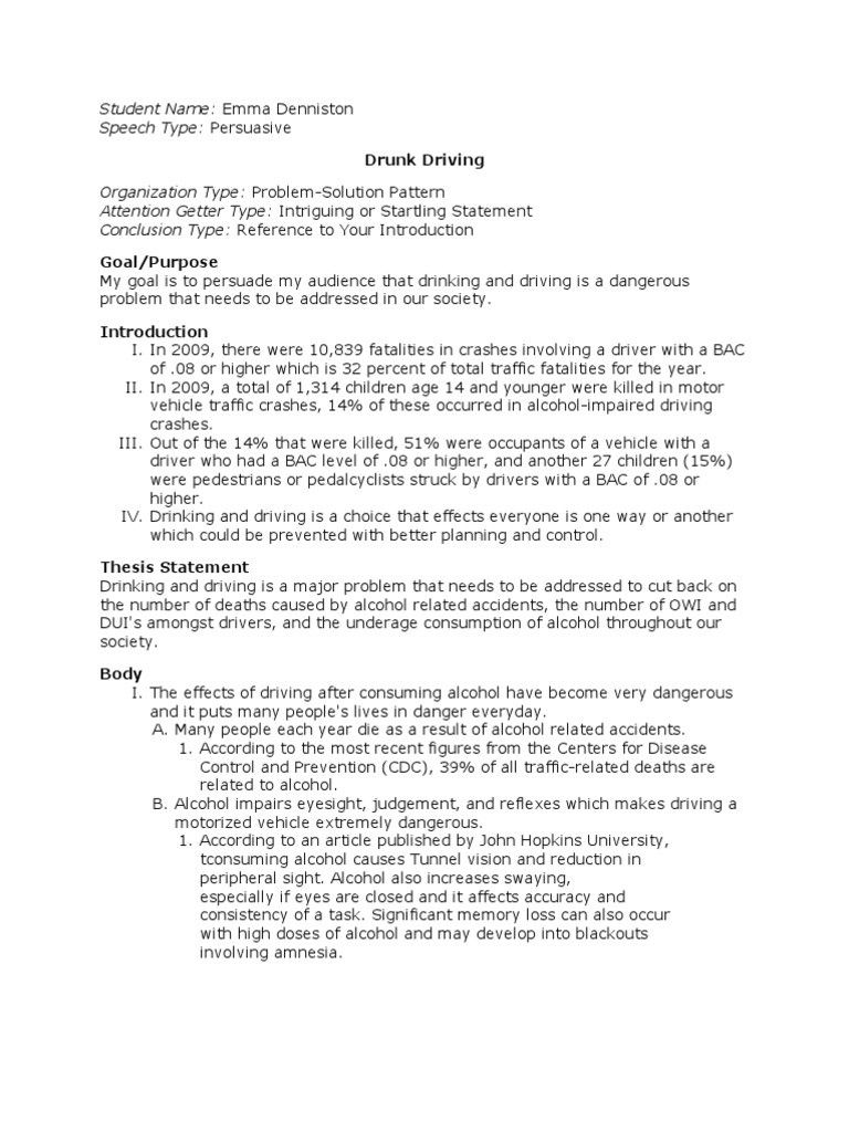 drunk driving solution essay