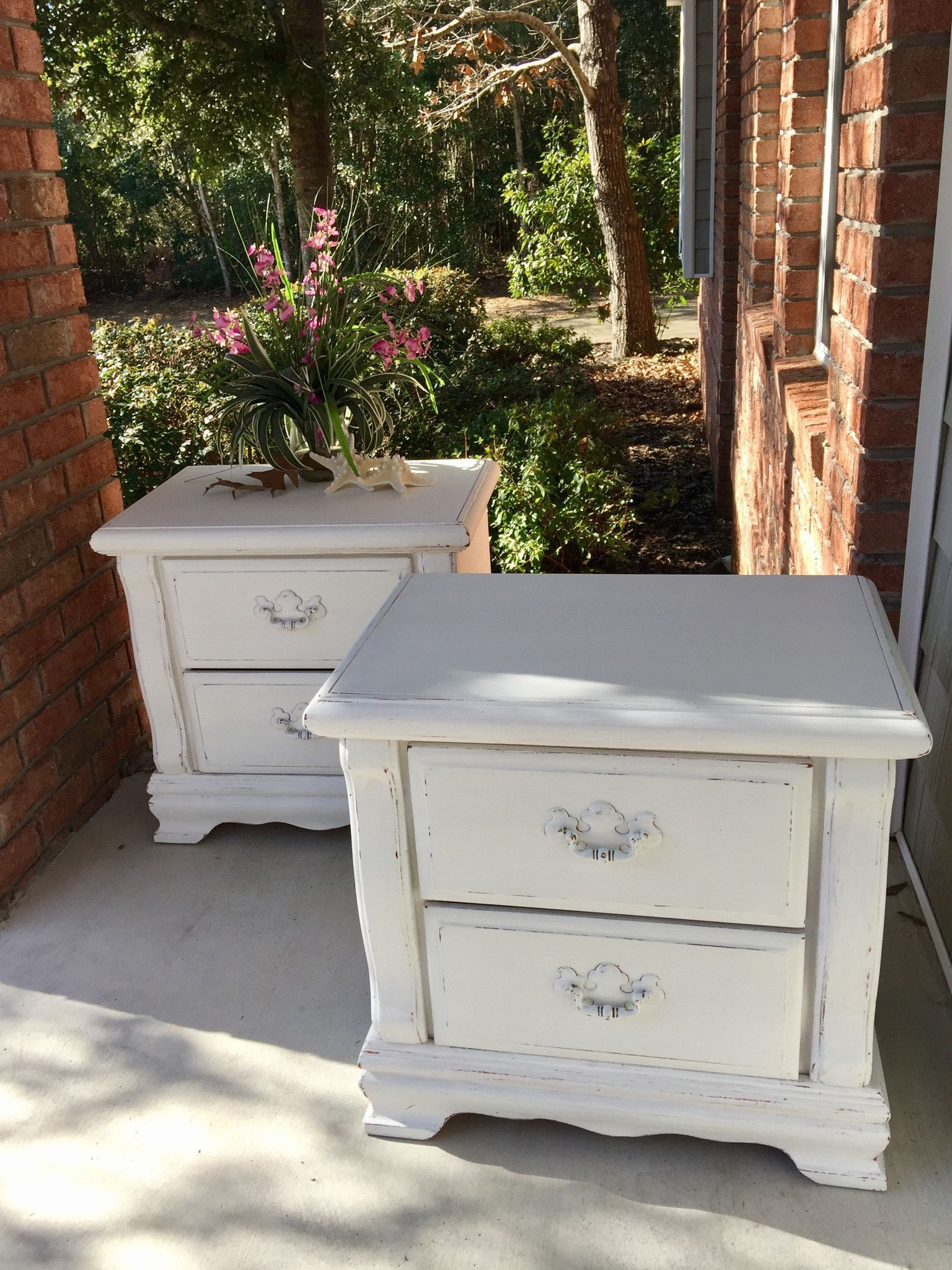 Set of beach inspired french country white nightstands night