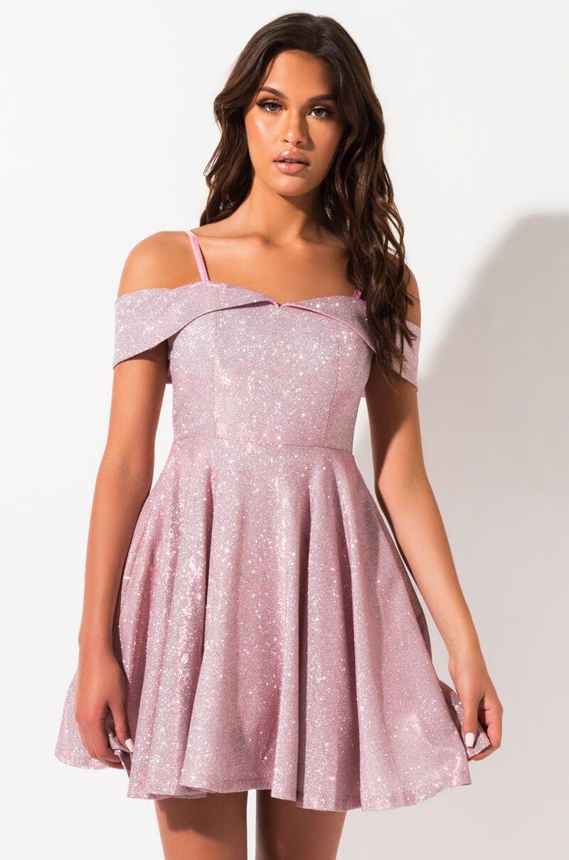 AKIRA Label Sequin Off Shoulder Slim Strap Padded Skater Mini Dress In Muave -   14 dress For Teens skater ideas