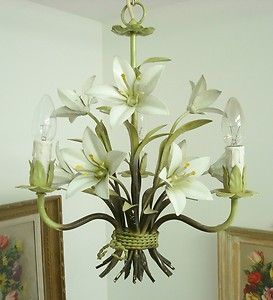Delicious white lilies shabby french chic toleware tole chandelier delicious white lilies shabby french chic toleware tole chandelier light lamp ebay ermagerrrrrrrrd mozeypictures Image collections