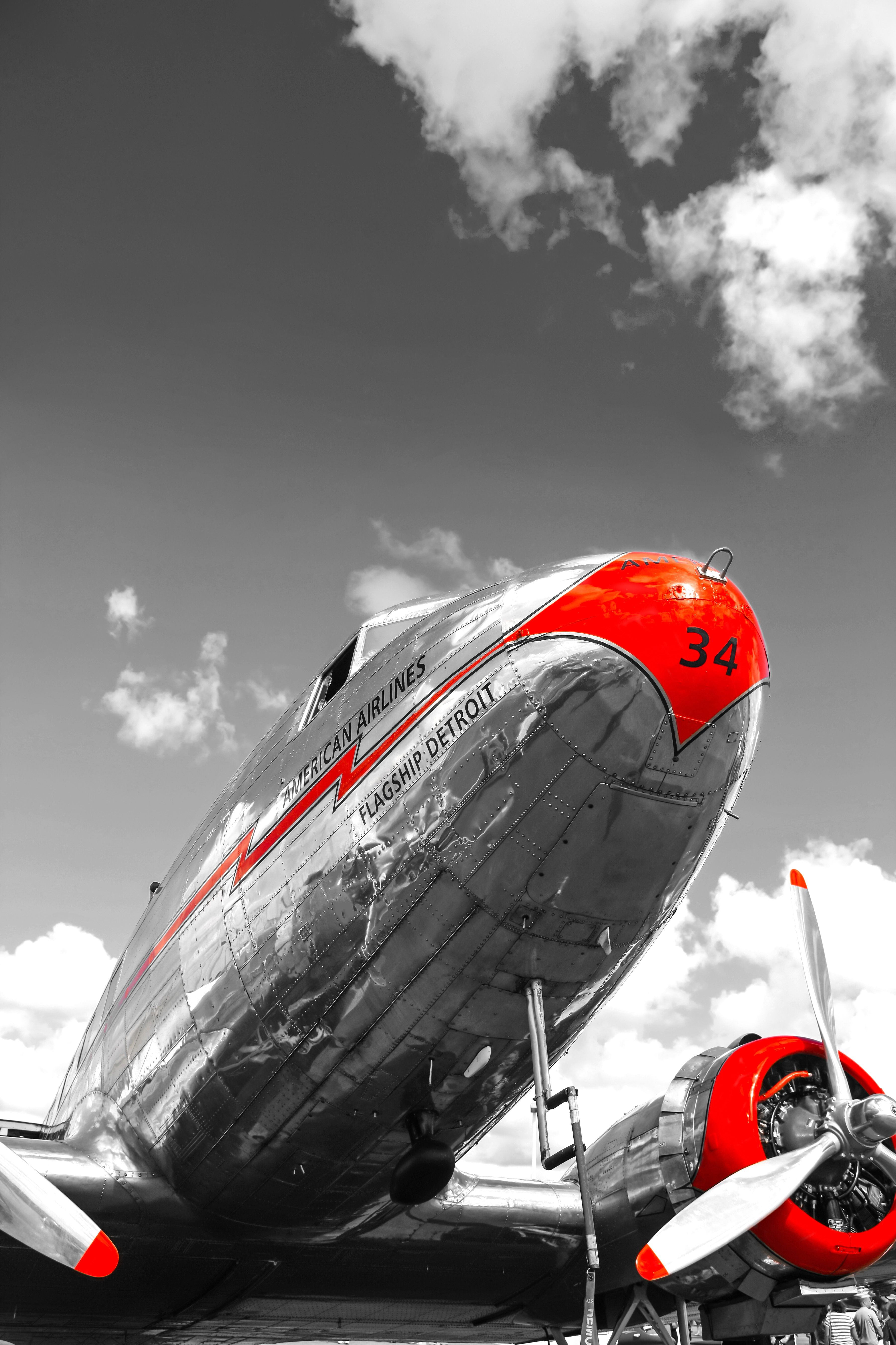 red highlites dc3 vintage aviation wall decor print 12x18in satin