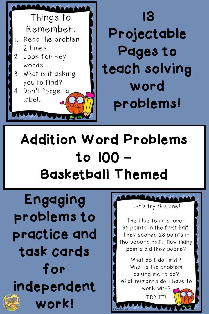 Addition Word Problems to 100 - One and Two Steps - Basketball Theme