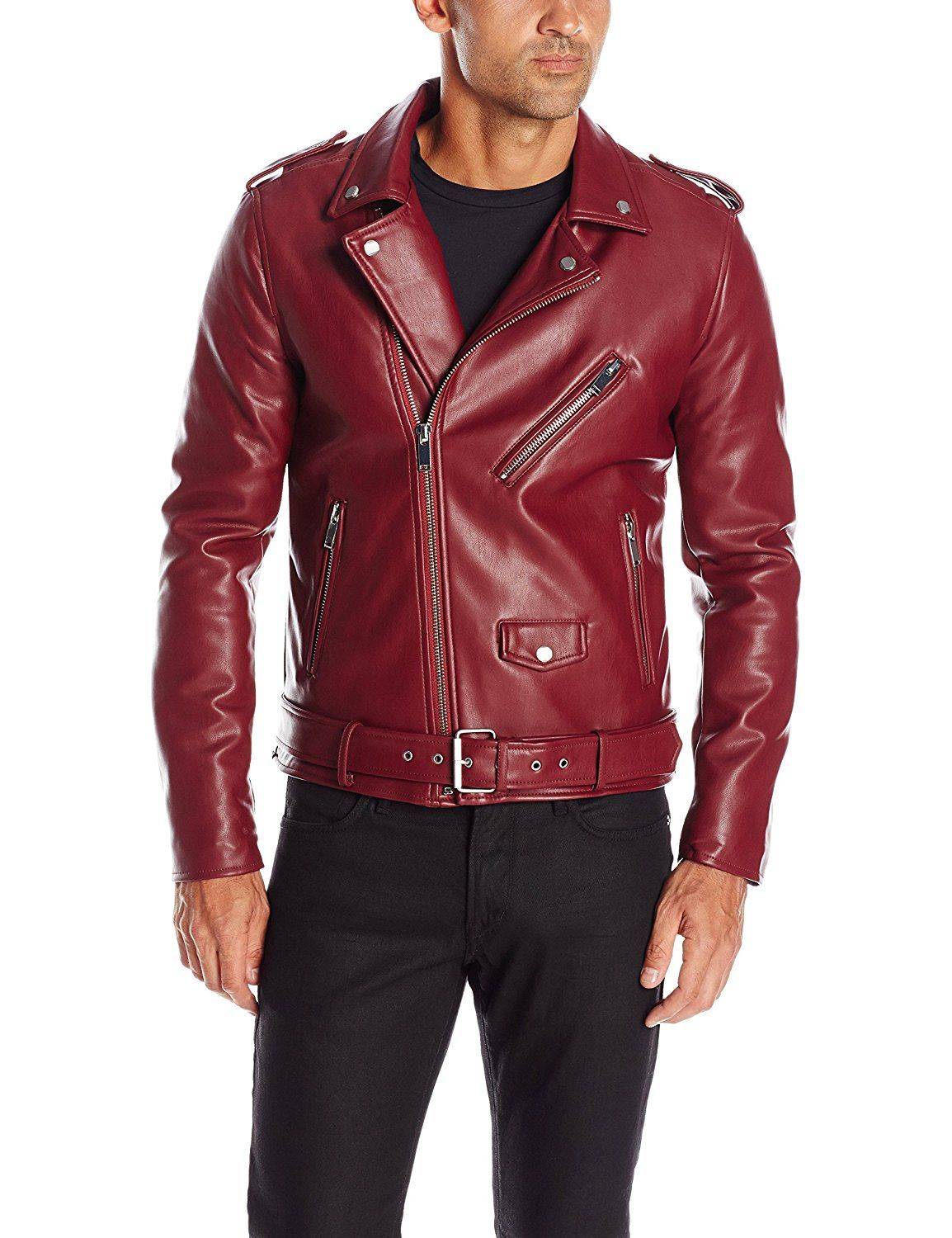 GUESS Men's Asymmetrical Faux Leather Jacket at Amazon Men's Clothing store: