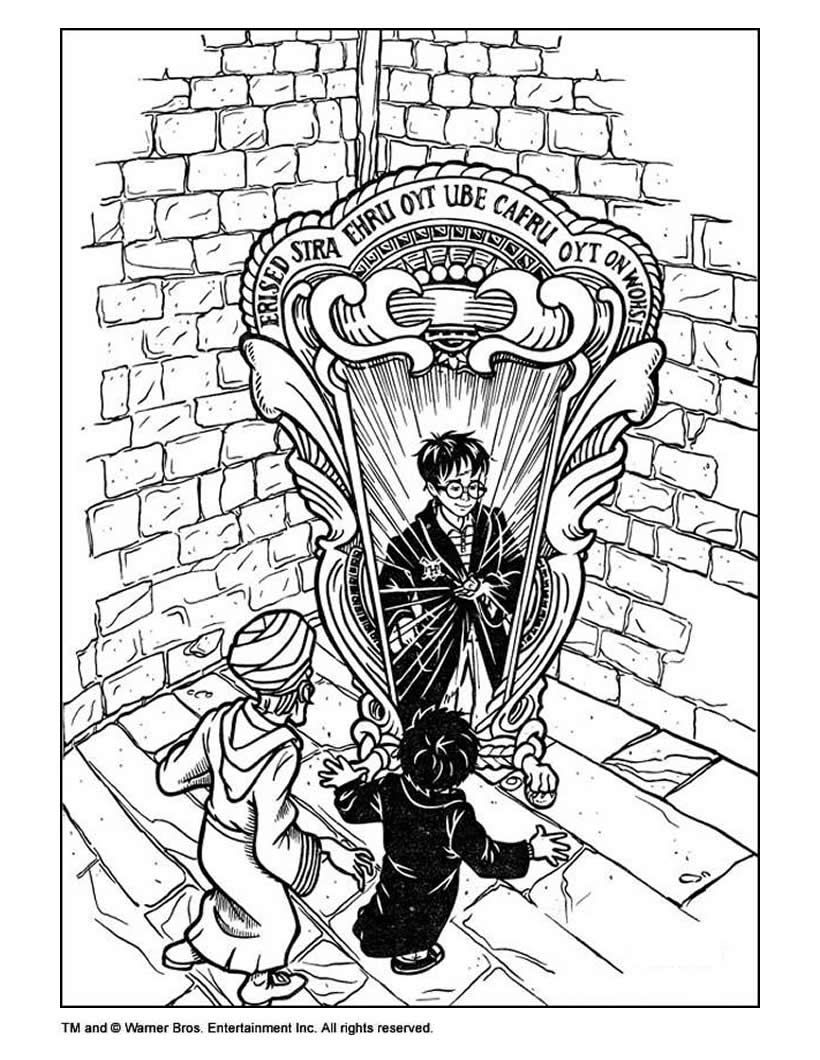 Harry Potter and mirror coloring page Fantasy Harry
