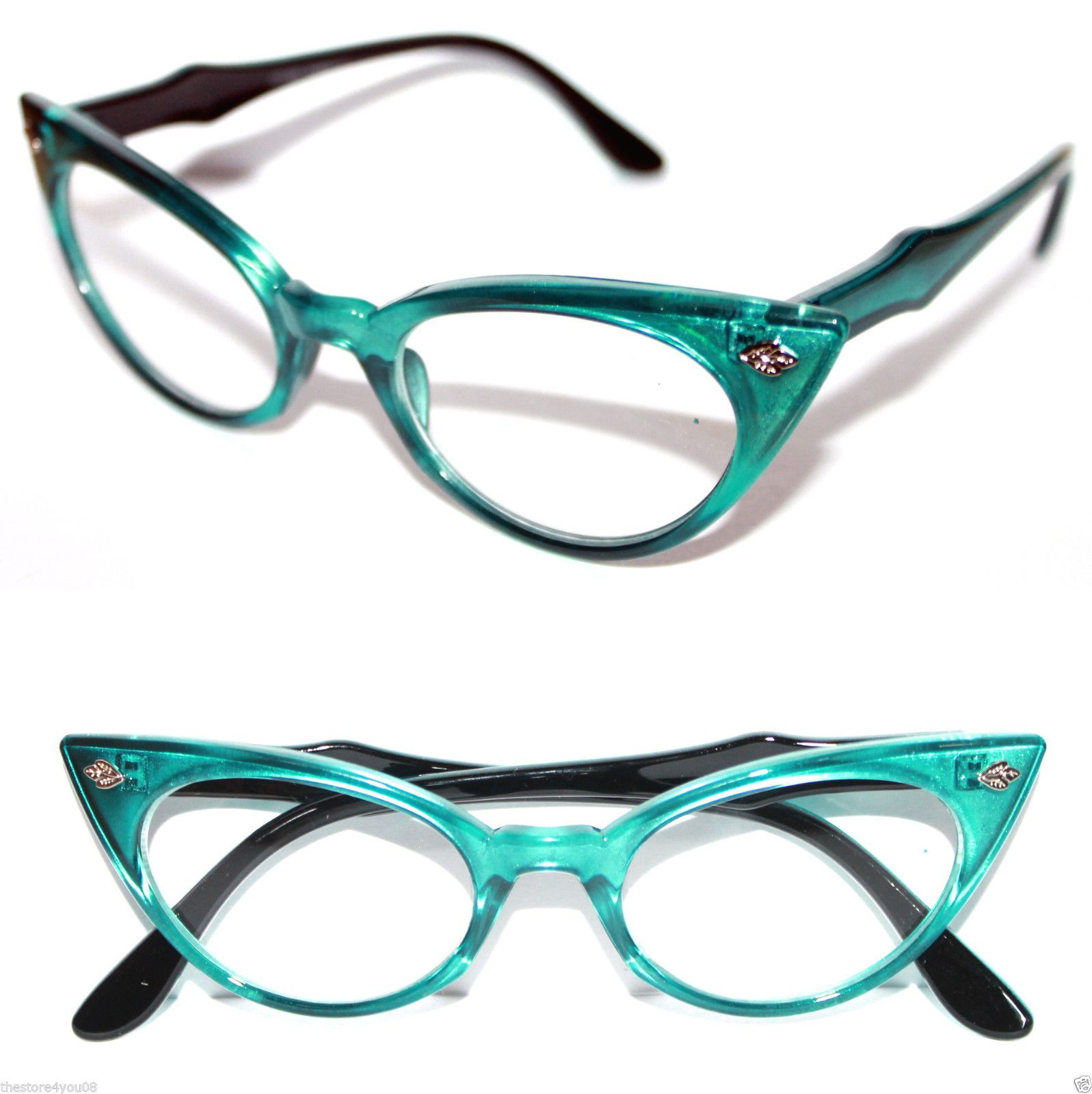 792221cb36 Cat Eye Vintage Glasses Frame 50 s Cateye Small Nerd Turquoise Green Black  318