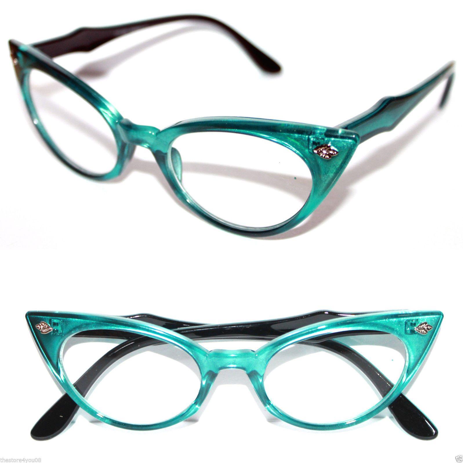 Cat Eye Vintage Glasses  Frame 50's Cateye small Nerd Turquoise Green Black 318